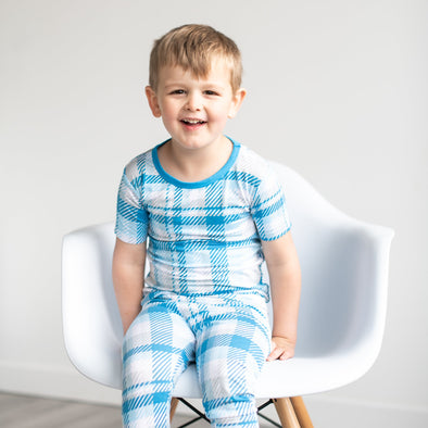 PJs - Blueberry Plaid Two-Piece Short Sleeve Bamboo Viscose Pajama Set