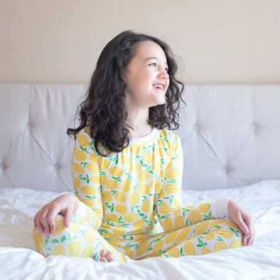 PJs - Lemons Two-Piece Bamboo Viscose Pajama Set