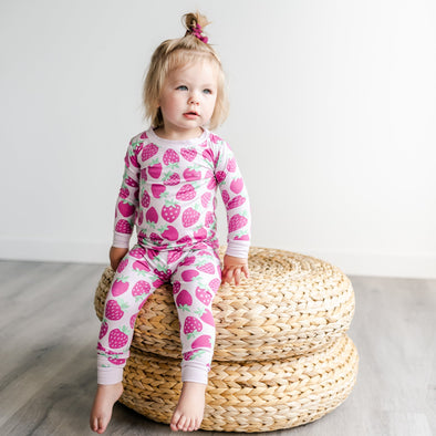 PJs - Strawberries Two-Piece Bamboo Viscose Pajama Set