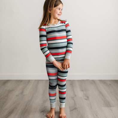 PJs - Winter Stripe Two-Piece Bamboo Viscose Pajama Set