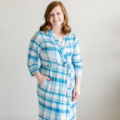 Robes - Blueberry Plaid Women's Bamboo Viscose Robe