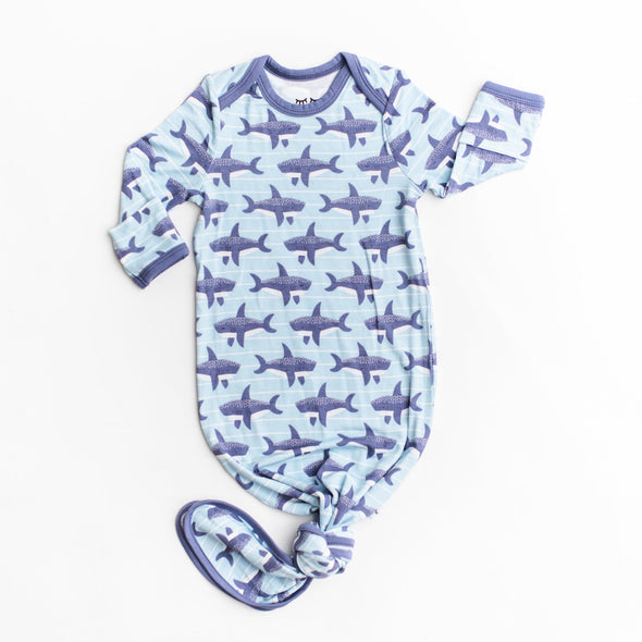 Sharks Bamboo Infant Knotted Gown