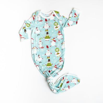 Snowman Bamboo Viscose Infant Knotted Gown