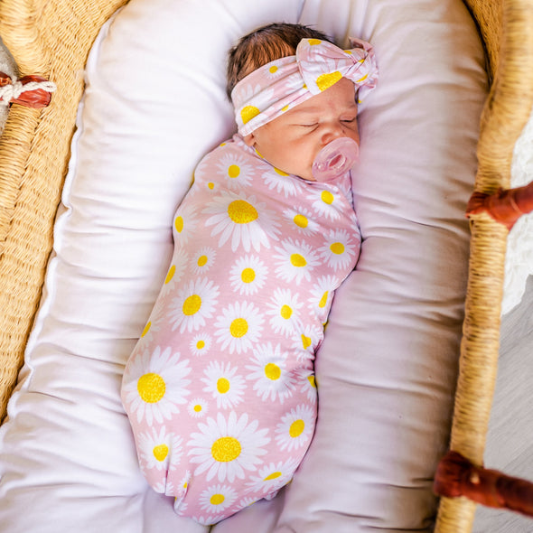 Swaddle Sets - Daisies Bamboo Viscose Swaddle + Headband Set