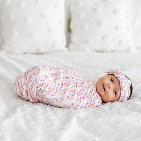 Swaddle Sets - Pastel Rainbows Bamboo Viscose Swaddle + Headband Set
