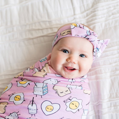Swaddle Sets - Pink Breakfast Buddies Bamboo Viscose Swaddle + Headband Set