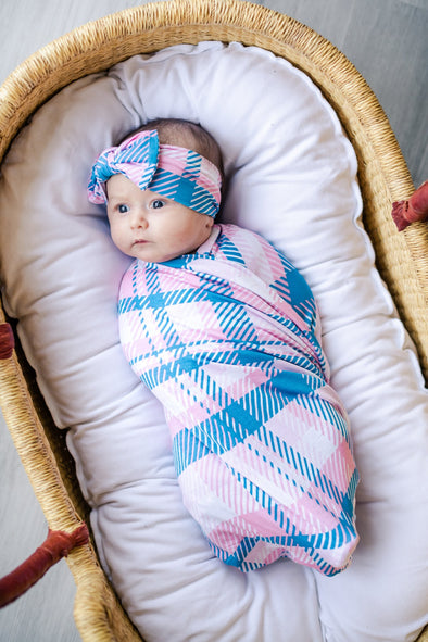 Swaddle Sets - Rosy Plaid Bamboo Viscose Swaddle + Headband Set