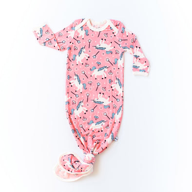 Unicorns Bamboo Infant Knotted Gown