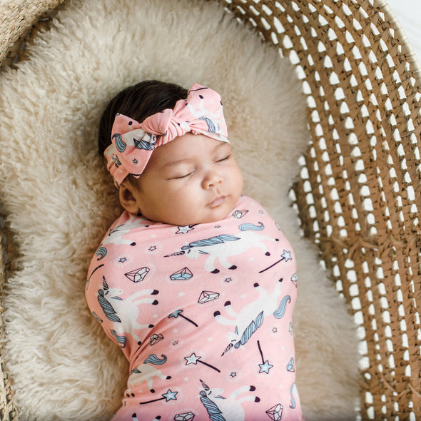 Unicorns Bamboo Swaddle + Headband Set