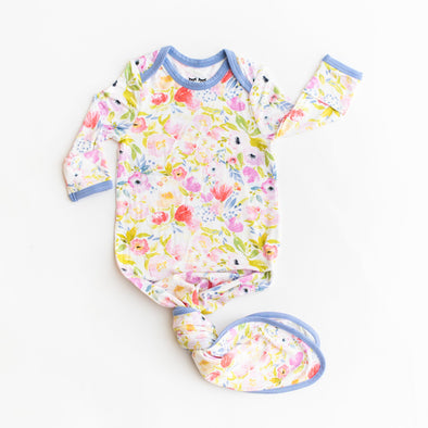 Watercolor Blooms Bamboo Infant Knotted Gown