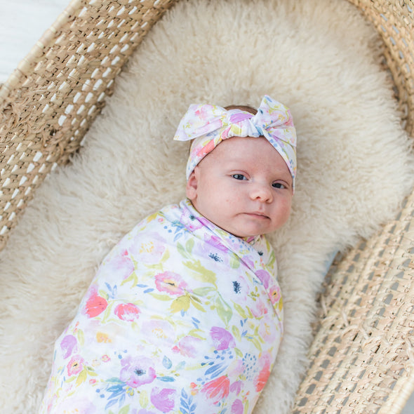 Watercolor Blooms Bamboo Swaddle + Headband Set