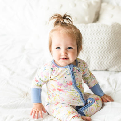 Watercolor Blooms Bamboo Zip Romper/Sleeper