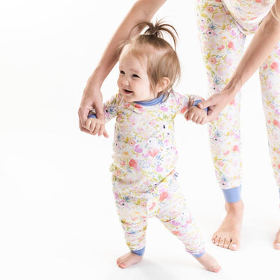 Watercolor Blooms Two-Piece Bamboo Pajama Set