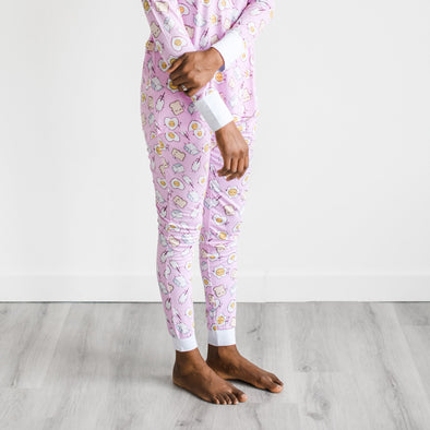 Women's PJs - Pink Breakfast Buddies Women's Two-Piece Bamboo Viscose Pajama Pants