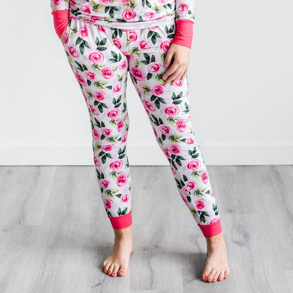 Women's PJs - Roses Women's Two-Piece Bamboo Viscose Pajama Pants