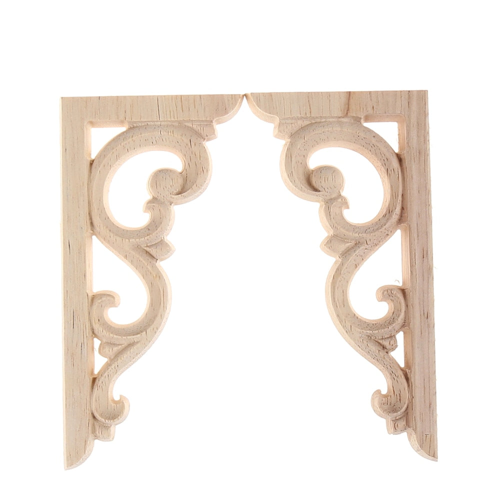 1Pair Wood Carved Applique Frame 12*6cm Vintage Unpainted Corner Onlay For Home Furniture Wall Cabinet Door Decor Crafts