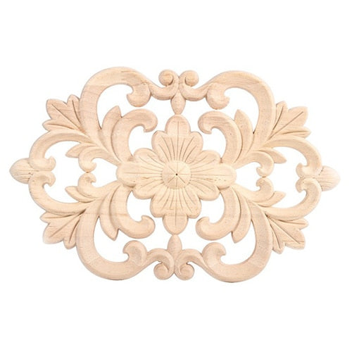1x Rubber Wood Carved Onlay Applique Unpainted Furniture for Home Door Cabinet Decoration Wood color(22x14cm)