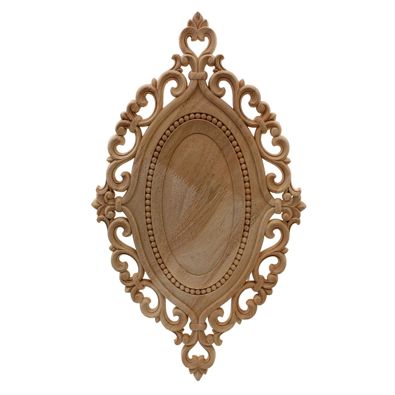 Vintage Wood Carved Decal Corner Onlay Applique Frame Furniture Wall Unpainted For Home Cabinet Door Decor Craft