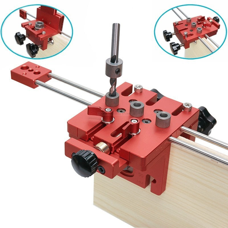 3 in 1 Woodworking Hole Drill Punch Positioner Guide Jig