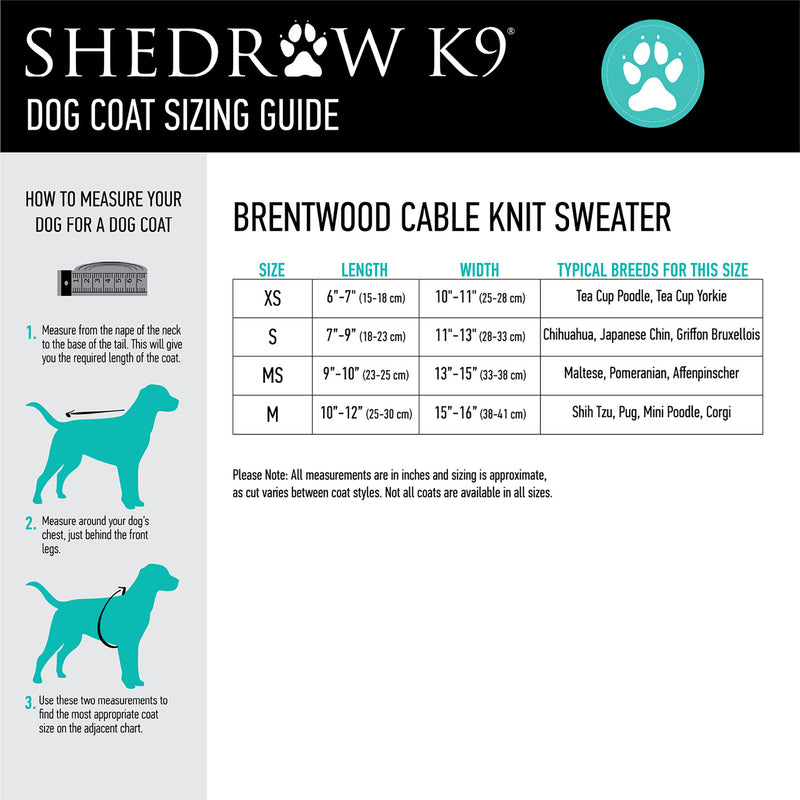 Brentwood Cable Knit Dog Sweater