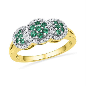 10kt Yellow Gold Womens Round Lab-created Emerald Diamond Cluster Ring 3/8 Cttw