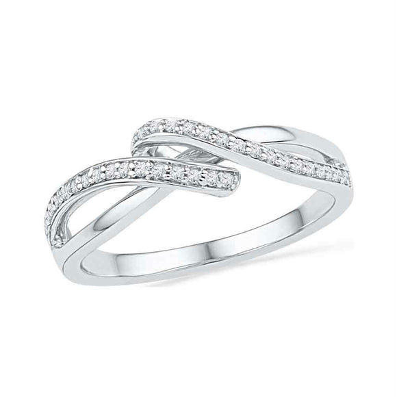 10kt White Gold Womens Round Diamond Crossover Band Ring 1/8 Cttw