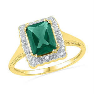 10kt Yellow Gold Womens Emerald Lab-created Emerald Solitaire Ring 1-3/4 Cttw