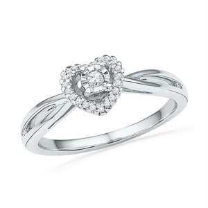 10kt White Gold Womens Round Diamond Heart Solitaire Ring 1/8 Cttw