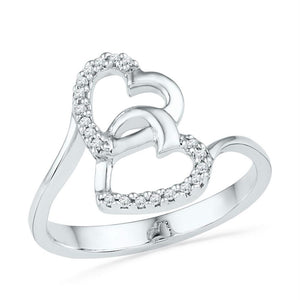 10kt White Gold Womens Round Diamond Double Heart Ring 1/12 Cttw