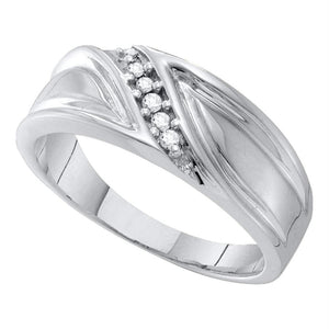 10kt White Gold Mens Round Diamond Wedding Band Ring 1/12 Cttw