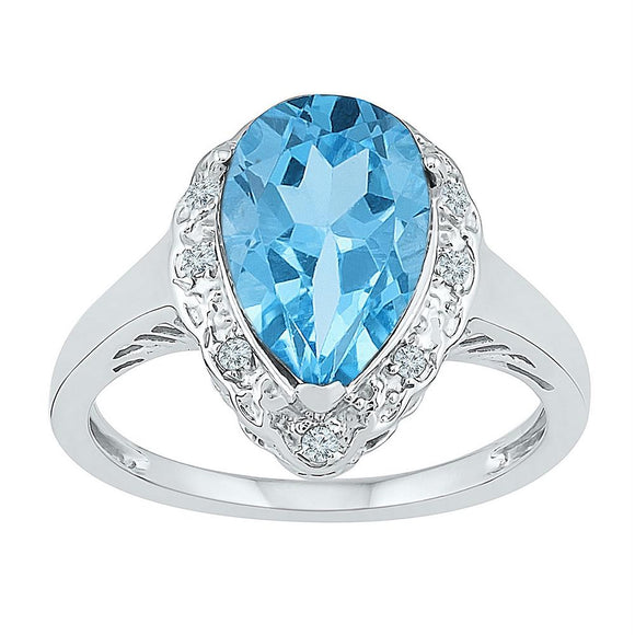 Sterling Silver Womens Pear Lab-created Blue Topaz Solitaire Ring 2-1/3 Cttw