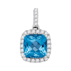 14kt White Gold Womens Cushion Blue Topaz Solitaire Diamond Pendant 1-7-8 Cttw