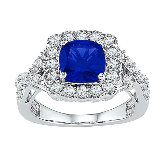 Sterling Silver Womens Princess Lab-created Blue Sapphire Solitaire Ring 3-3/4 Cttw