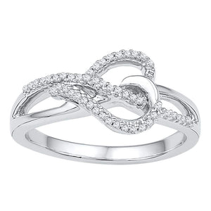 3d58c02df 10kt White Gold Womens Round Diamond Heart Infinity Ring 1/6 Cttw