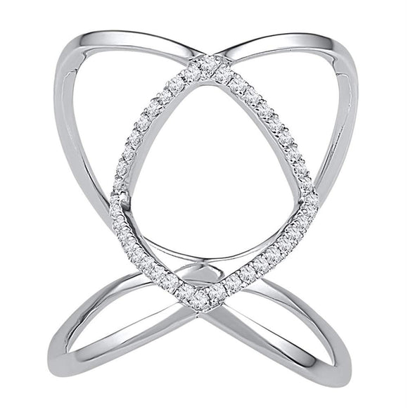 10kt White Gold Womens Round Diamond Open Strand Knuckle Fashion Ring 1-6 Cttw