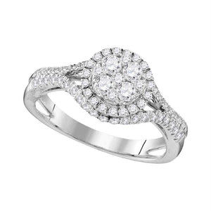 10kt White Gold Womens Round Diamond Cluster Bridal Wedding Engagement Ring 1.00 Cttw