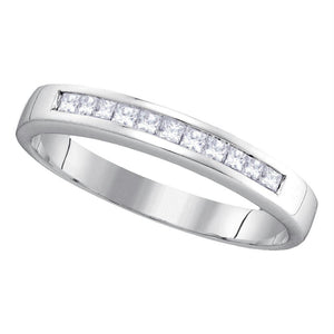 14kt White Gold Womens Princess Channel-set Diamond Single Row Wedding Band 1/4 Cttw