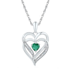 f55186abb201e Sterling Silver Womens Round Lab-created Emerald Heart Pendant 5-8 Cttw.