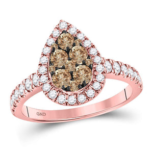 14kt Rose Gold Womens Round Brown Diamond Teardrop Cluster Ring 1.00 Cttw