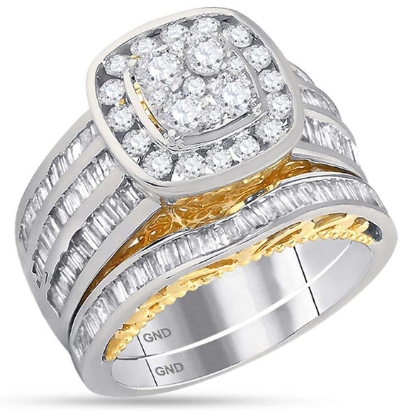 14kt Two-tone White Yellow Gold Womens Round Diamond Cluster Bridal Wedding Engagement Ring Band Set 1-7/8 Cttw