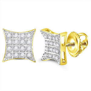 0d10541cf 10kt Yellow Gold Mens Round Diamond Kite Square Cluster Stud Earrings 1-10  Cttw
