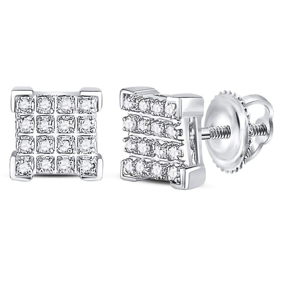 10kt White Gold Mens Round Diamond Square Cluster Earrings 1-10 Cttw