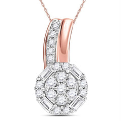 14kt Rose Gold Womens Round Diamond Flower Cluster Pendant 1-6 Cttw