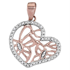14kt Rose Gold Womens Round Diamond Heart Butterfly Pendant 1-20 Cttw
