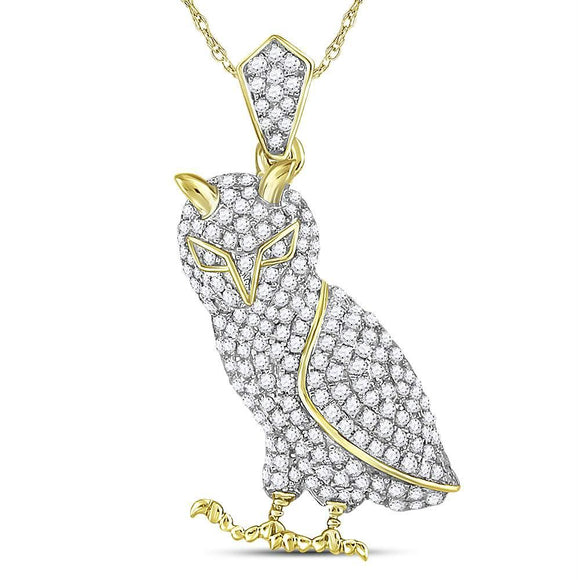10kt Yellow Gold Mens Round Diamond Owl Bird Animal Charm Pendant 1.00 Cttw