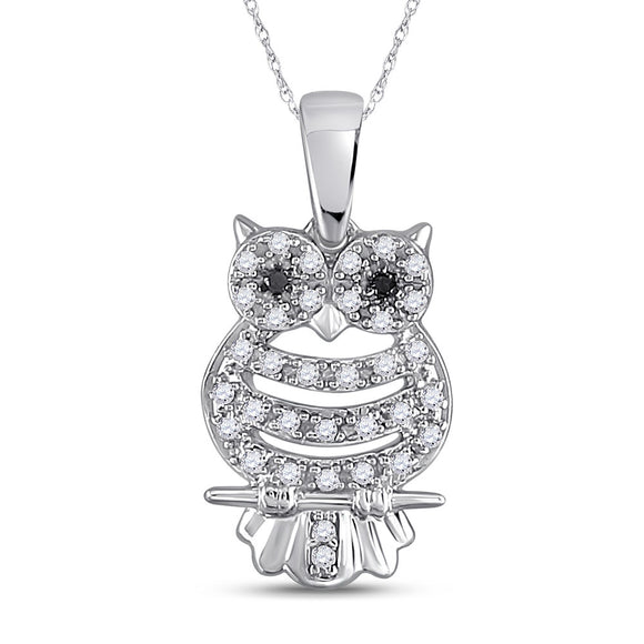 10kt White Gold Womens Round Black Color Enhanced Diamond Owl Bird Animal Pendant 1-6 Cttw