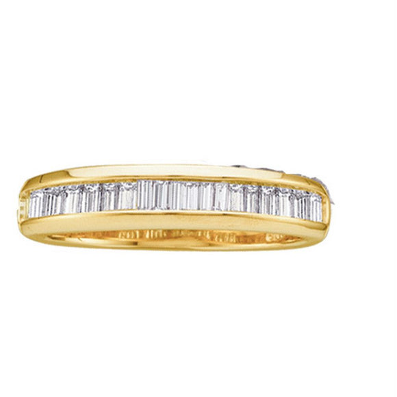 14kt Yellow Gold Womens Baguette Diamond Wedding Band Ring 1/4 Cttw