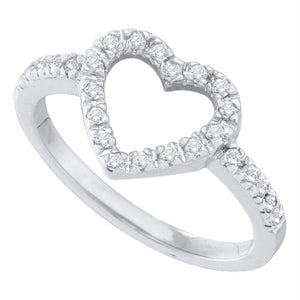 10kt White Gold Womens Round Diamond Simple Heart Outline Ring 1/5 Cttw