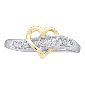 14kt White Gold Womens Round Diamond-accent Two-tone Heart Band Ring 1/20 Cttw