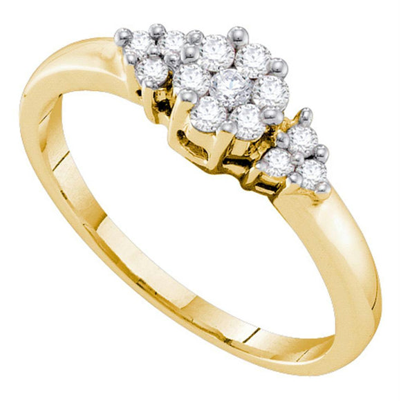 14kt Yellow Gold Womens Round Diamond Cluster Fashion Ring 1/4 Cttw